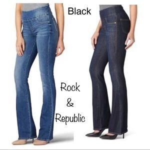 Rock & Republic Fever Pull-On Bootcut Jeans Black
